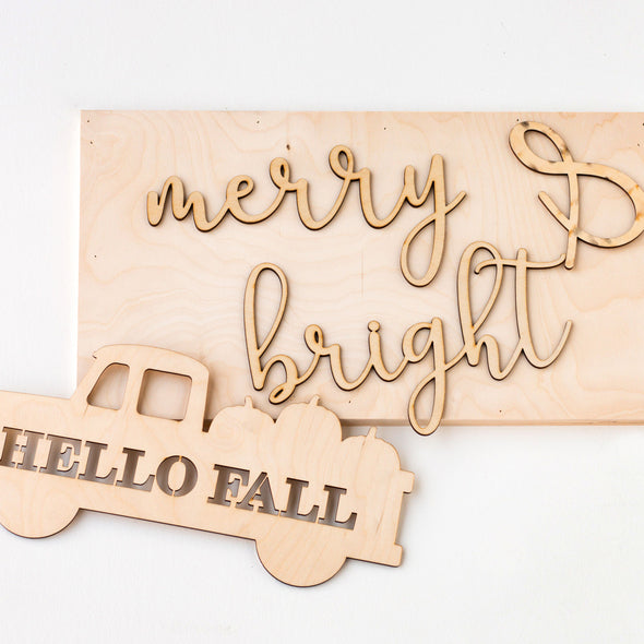 Merry & Bright | Hello Fall reversible sign