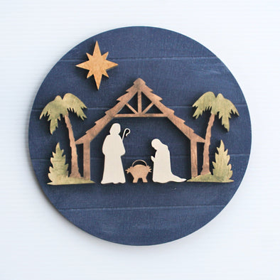 Christmas Nativity Faux Shiplap Round