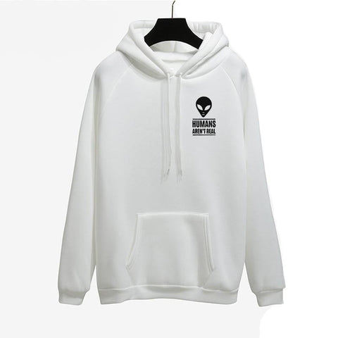 Humans Aren't Real White Alien Hoodie