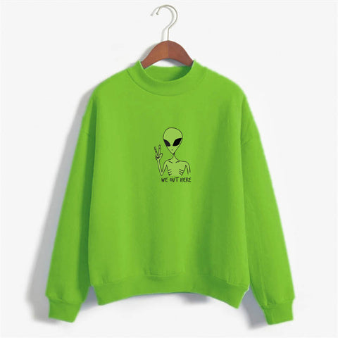 We Out Here Green Alien Hoodie