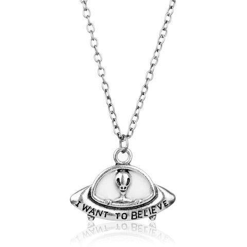 UFO Alien Necklace Silver