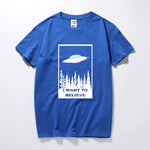I Want to Believe Alien T-Shirt Blue