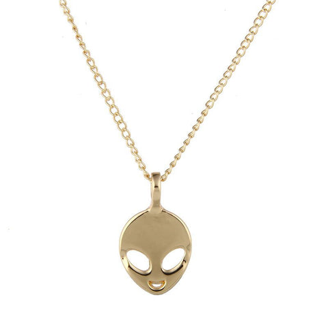 Gold Alien Face Necklace
