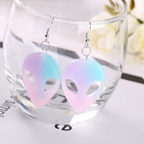 multicolor alien earrings