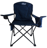 Coleman folding quad chair with armrest cooler in blue.