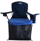 Wrapsit slipcover pet crate fit on the Coleman folding quad chair with armrest cooler.