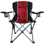Craftsman folding chair with foam padded seat in black and red.