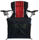 Wrapsit slipcover pet crate fit on the Craftsman Folding chair foam padded in red and black.