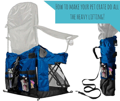 soft pet crate, storage, outdoor camping chair, stuff Wrapsit loaded with the extras we take with us on outings.