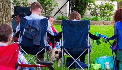 Couple with stuff around chair and with loose pug dog at park concert.