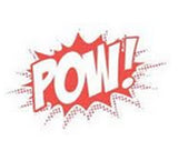 POW!Tailgating red cartoon style POW logo.