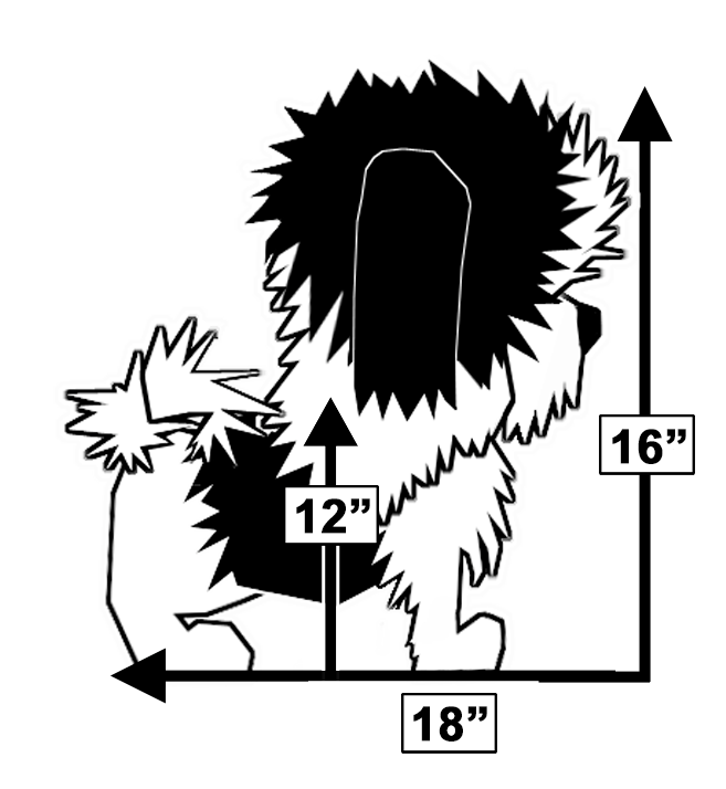 Graphic of dog with measurements for fit within Wrapsit slipcover crate.