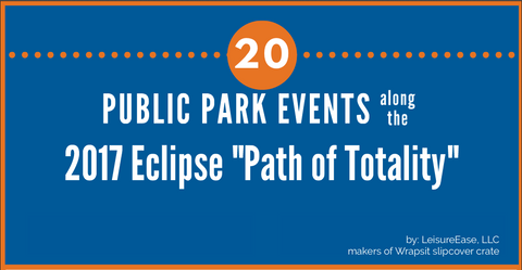 Infograph of 20 Public Park Events on 2017 Eclipse Path of Totality by LeisureEase, LLC makers of Wrapsit soft pet crate.