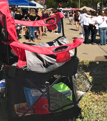 Stuff protected in Wrapsit covered chair at tailgate party