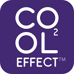 Cool Effect carbon offset project purple and white logo.