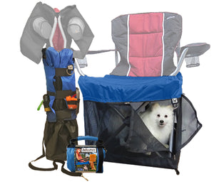Wrapsit covered chair open with American Eskimo dog, closed on chair and in retail package.