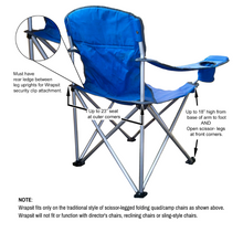 Load image into Gallery viewer, basic scissor-legged folding quad chair with measurements for ideal fit of Wrapsit slipcover under seat pet crateLeisureEase, LLC