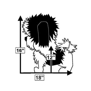 illustrated image of shih-tzu dog with measurements for perfect fit within Wrapsit slipcover under seat pet crate on folding quad chair LeisureEase, LLC