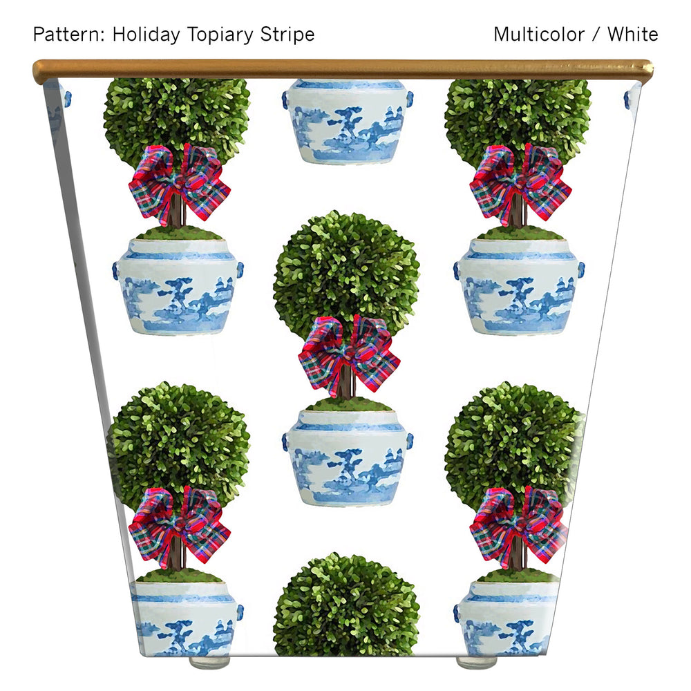 Standard Cachepot Container: Holiday Topiary Stripe