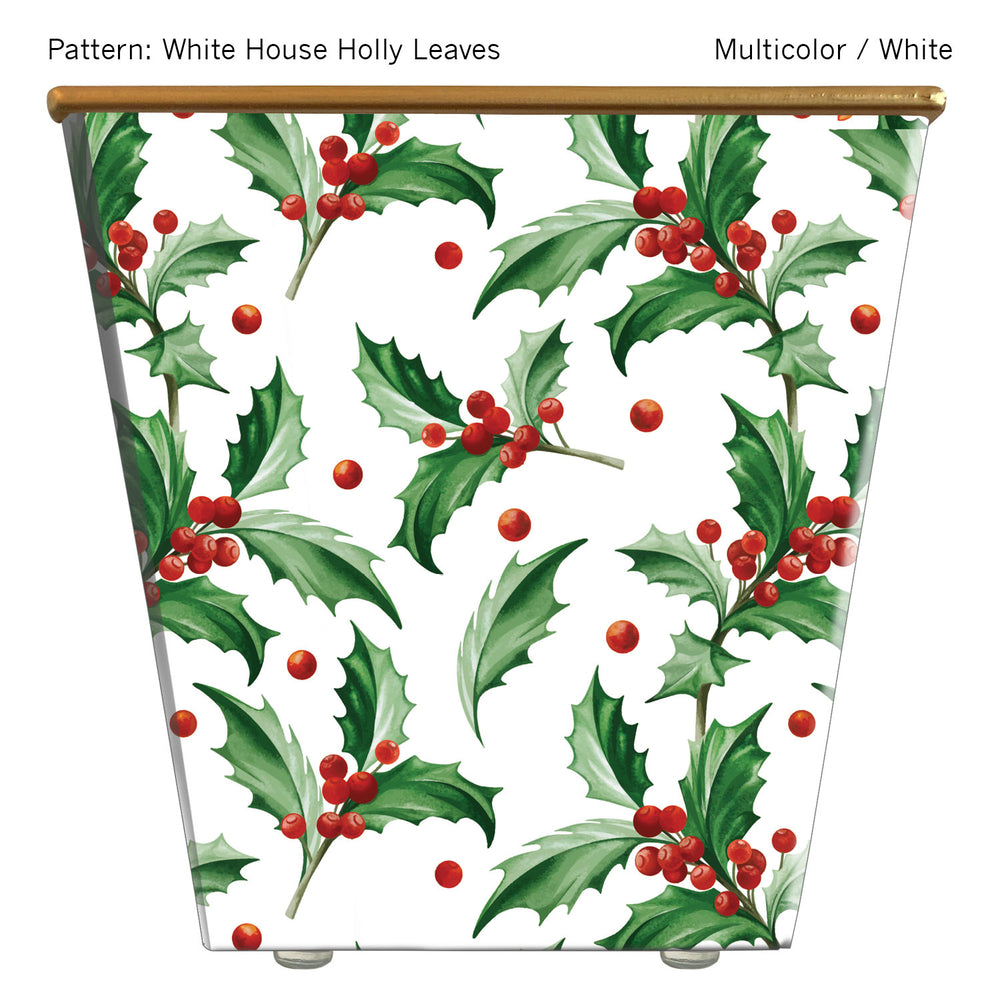 Standard Cachepot Container: White House Holly Leaves