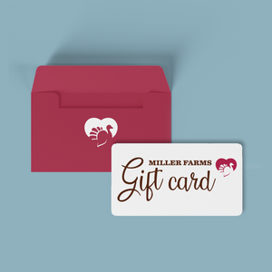 Miller Farms gift card with red envelope on a blue background