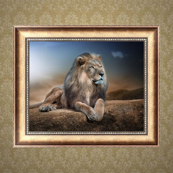 Blue Lion 5D Diamond Embroidery Painting Cross Stitch DIY Craft Home Decor MOH