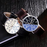 1 Pcs Luxury Fashion Faux Leather Mens Blue Ray Glass Quartz Analog Watches Imitaci¨®n De Cuero Cuarzo Anal¨®gico Relojes