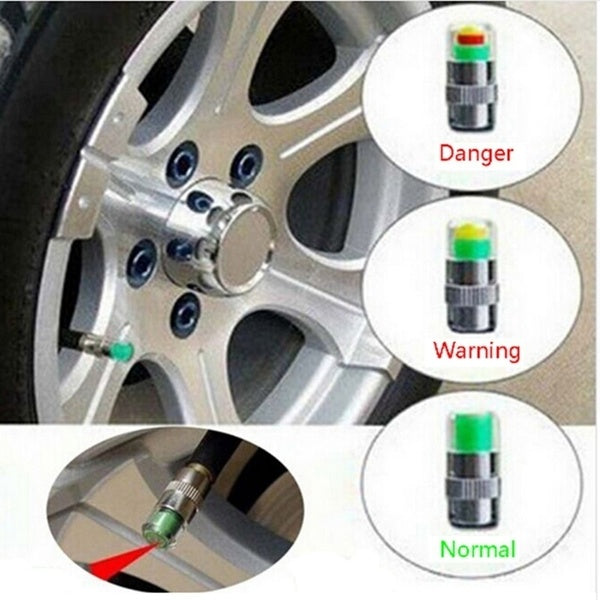 New Arrival 4PCS/set Air Warning Alert Tire Valve Pressure Sensor Monitor Tyre Cap Indicator For Auto Car New Universal Car Use