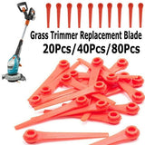 20Pcs /40Pcs /80Pcs Plastic Replacement Blades Rotate Cut Red Blade Head for Gardena Grass Trimmer & Battery Trimmer (70mm ,5.5mm)