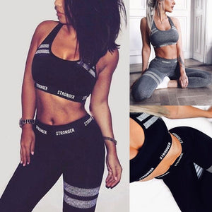 Women 2Pcs Sport Outfit Letters Seamless Crop Top Vest High Waist Leggings Honeycomb Striped Yoga Suit Fitness Workout Tracksuit MOU