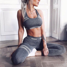 Load image into Gallery viewer, Women 2Pcs Sport Outfit Letters Seamless Crop Top Vest High Waist Leggings Honeycomb Striped Yoga Suit Fitness Workout Tracksuit MOU