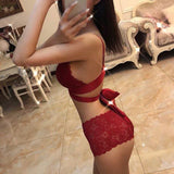 5 Colors Fashion Women Lace Bandage Cross Bra Set Lingerie Set Underwear Bikini Sets Lace Bra Tops and Panties