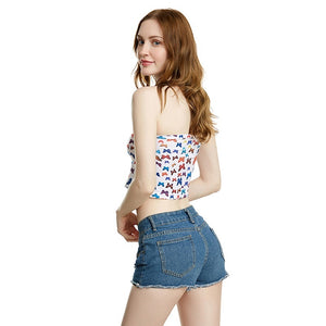 Sexy New Short Tops Women's Butterfly Print Ladies Strapless Crop Tops