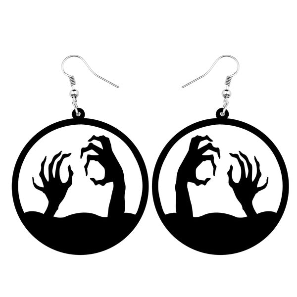 Acrylic Halloween Horrible Reaching Out Hand Hollow-out Earrings Round Drop Dangle Punk Jewelry For Women Girls Gifts Charms