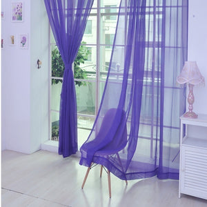 New Pure Color Tulle Door Window Curtain Drape Panel Sheer Scarf Valances