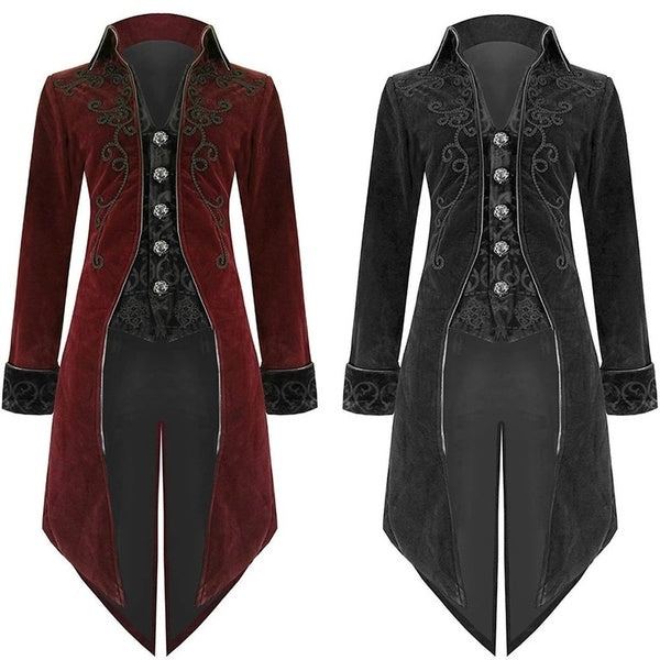 Men's Vintage Steampunk Long Jacket 18th Century Baroque Suit Jacket Party Slim Tuxedo Goth Uniform Winter Long Coats