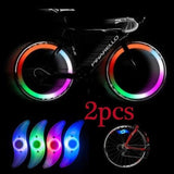 2 Pcs Bicycle Spokes Lamp Bike Willow Leaves-shape LED Wheel Steel Wire Lights Waterproof Bike Decor Lamp(four Colours)