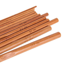 Load image into Gallery viewer, 12Pcs Bamboo Crochet Hooks Knitting Needles DIY Knitting Handle Knitting Tools