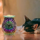 3D Glass Electric Wax Melt Warmer Candle Warmer Wax Burner Melter Fragrance Warmer for Home Office Bedroom Living Room Gifts & Decor (3D Fireworks)