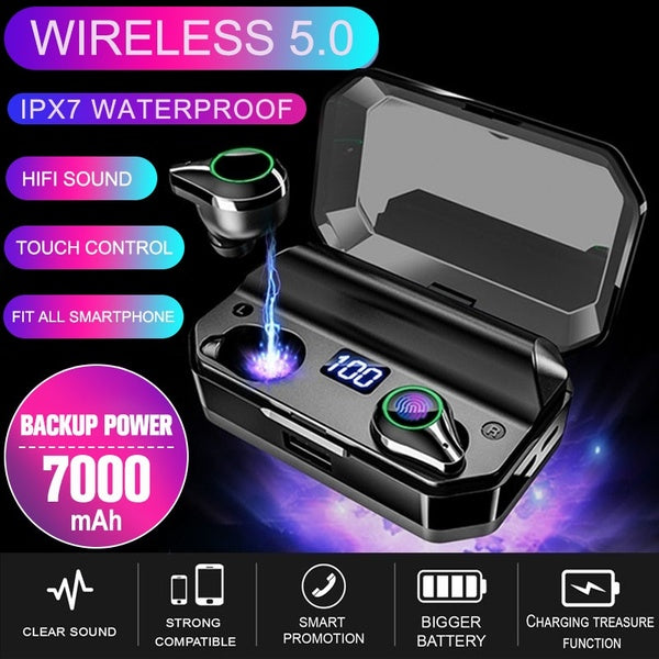 TWS Bluetooth Headset Bluetooth 5.0 IPX7 Waterproof Touch Control Sport In Ear Earphones Noise Cancellation Hands-free Call with 7000 Large Capacity Charging Box