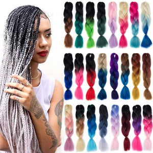 24inch/100g 1PC 80 Colors Synthetic Long Jumbo Ombre Jumbo Braiding Synthetic Hair  Crochet Braids Hair