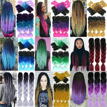 Load image into Gallery viewer, 24inch/100g 1PC 80 Colors Synthetic Long Jumbo Ombre Jumbo Braiding Synthetic Hair  Crochet Braids Hair
