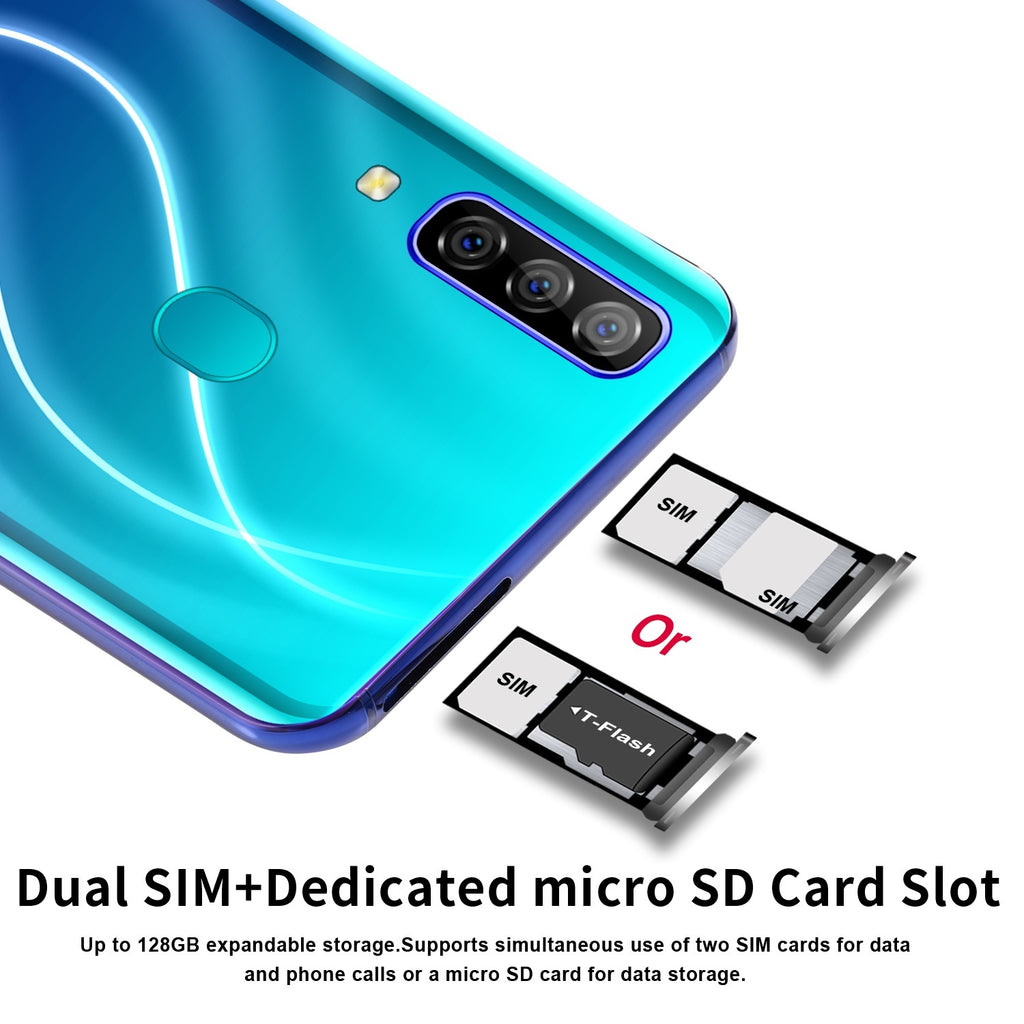 4G Smartphone A70pro with 6.7 inch Full Screen 6+128 GB Large Memory Smartphone Dual card support T card phone Face Recognition Smartphone
