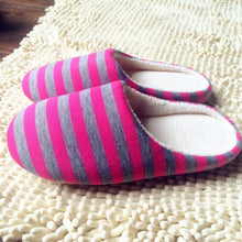 Load image into Gallery viewer, Striped Cloth Bottom Couples Warm Slippers Non Slipping Shoes for Men & Women