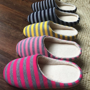 Striped Cloth Bottom Couples Warm Slippers Non Slipping Shoes for Men & Women