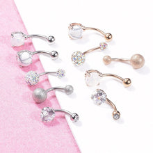 Load image into Gallery viewer, 5 Pieces / Set  Fashion Women's Navel Buckle Rose Gold Silver Rhinestone Sexy Navel Piercing Ring Body Jewelry