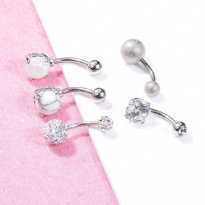 5 Pieces / Set  Fashion Women's Navel Buckle Rose Gold Silver Rhinestone Sexy Navel Piercing Ring Body Jewelry