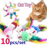 10pcs/set Cute Mini False Mouse Cat Toys Pet Funny Interactive Playing Toys for Cats with Colorful Feather Randomly Send