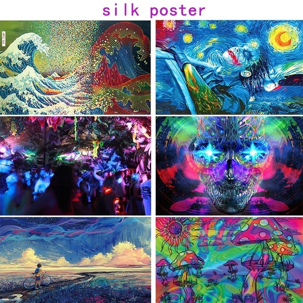 Psychedelic  Cosmic Starry Sky Silk  Fabric Posters Visual Mind Manifesting Art