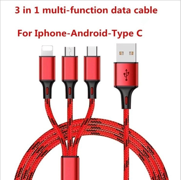 1.2M Nylon 3 in 1 mobile phone data cable for Iphone, Android and Type C charging cable
